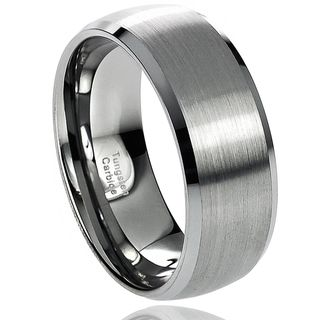 Daxx Mens Tungsten Carbide Brushed Center Beveled Edge Band (8 mm