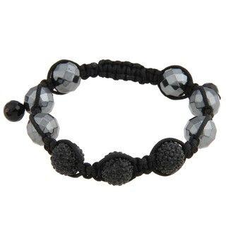 La Preciosa Mens 12 mm Hematite Bead and Crystal Macrame Bracelet