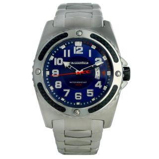 Chronotech Mens Active Stainless Steel Blue Dial Watch