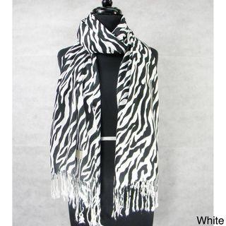Zebra Stripe Fringed Pashmina Fashion Scarf