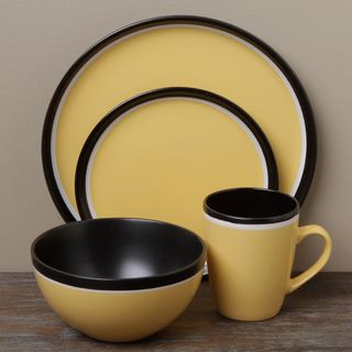 Tabletops Unlimited Argentina Yellow 16 piece Dinnerware Set