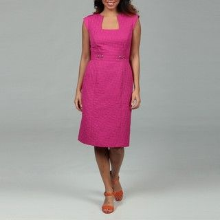 Tahari Womens Hot Pink Jacquard Sheath Dress