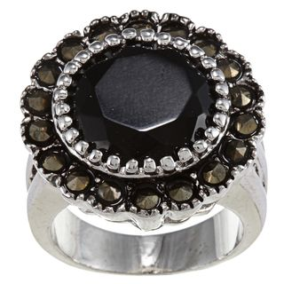 Marcasite and Round Jet stone Crystal High polish Silvertone Ring