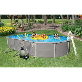 Belize Above Ground 18 x 33 foot Oval Swimming Pool Package