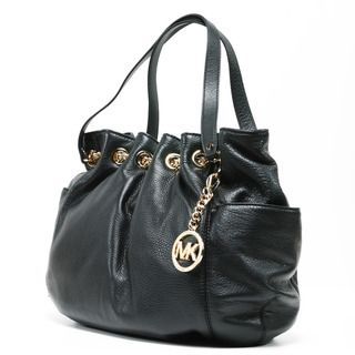 MICHAEL Michael Kors Womens Jet Set Black Leather Chain Ring Tote