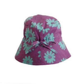 Girls Sun Hat Purple With Turquoise Flowers Medium