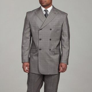 English Laundry Mens Black/ Grey Double Breasted Suit