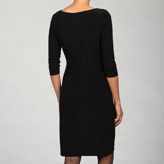 Evan Picone Womens Black Rhinestone Detail Dress