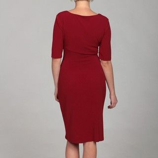 Connected Apparel Womens Scarlett Red Ruche Dress