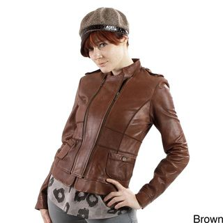 United Face Womens Leather Double Zip Slim Jacket