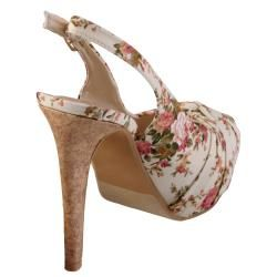 Journee Collection Womens Blythe 2 Floral Peep Toe Slingback Pumps