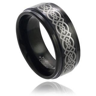 Daxx Mens Tungsten Black Enamel Engraved Celtic Knot Pattern Band (9
