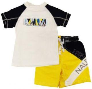 Nautica Toddler Boys Yellow/White Print Rash Guard Swim