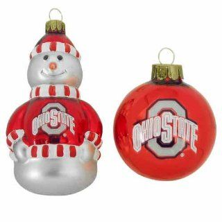 NCAA Ohio State Buckeyes Snowman and Ball Mini Blown Glass
