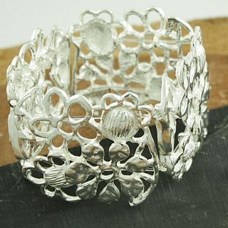 Sterling Silver Cut Out Flowers Bracelet (Mexico)