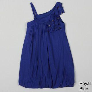 Paulinie Collection Girls One shoulder Ruffle Detail Dress