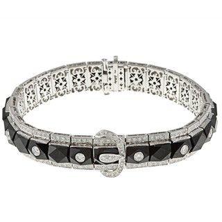 18k White Gold Black Onyx and 2 7/8ct TDW Diamond Estate Bracelet (I J