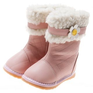 Little Blue Lamb Pink Leather Toddler Squeaky Boots