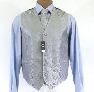 Brand Q Mens Paisley Silver Vest Tie Hanky Set   Size