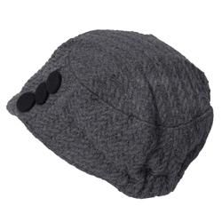 Adi Designs Womens Button Detail Wool Knit Hat
