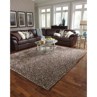 Caldera Hand tufted Brown Shag Rug (79 x 99)