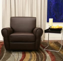 Harper Modern Dark Brown Faux Leather Recliner