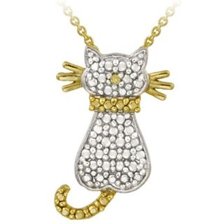 DB Designs 18k Gold Over Sterling Silver Yellow Diamond Accent Cat