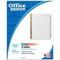 Office Depot 5 tab Index Dividers with White Labels