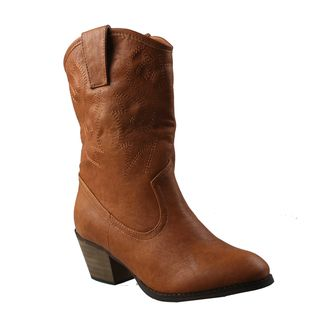 Refresh Womens West Western Style Mid calf Boots