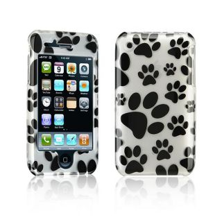 Luxmo Apple iPhone 3G/ 3GS White Dog Paws Design Crystal Case