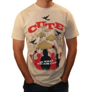 WEA Mens Cute Is What We Aim For Rainy Day T Shirt,Tan