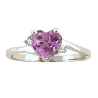 10k Gold June Birthstone Rhodolite and Diamond Heart Ring