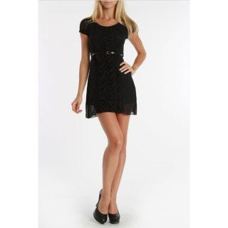 24/7 Frenzy Juniors Black Ruched Tiered Dress with Skinny Belt