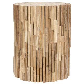 Bali Teak Strips Round End Table