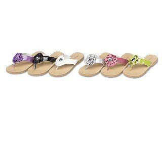 Little Girls Black Flower Strap Flip Flop Sandals 12 IM Link Shoes