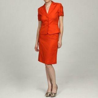 Tahari ASL Womens Orange Laser cut Skirt Suit