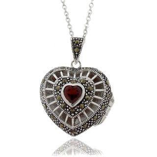 Gem Jolie Silver Overlay Garnet and Marcasite Heart Locket Necklace