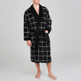 Izod Mens Black Windowpane Terry Velour Robe