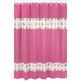 Pink Happy Owl Kids Shower Curtain