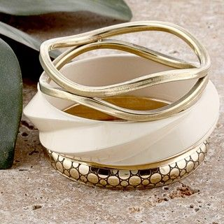 Set of 3 Brass and Wood Golden and White Skies Bangle Bracelets (India
