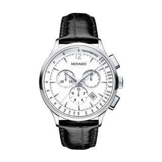 Movado Mens Circa Black Leather Strap Chronograph Watch
