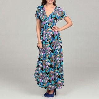 24/7 Comfort Apparel Womens Blue Short sleeved Maxi Dress