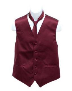 Mens Maroon Solid Jacquard Suit Vest and Neck Tie Set