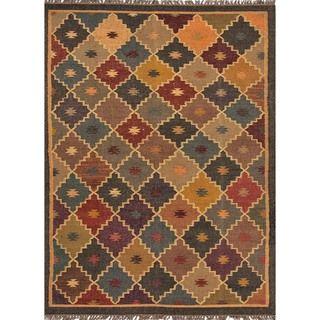 Handmade Flat Weave Tribal Multicolor Jute Rug (4 x 6)