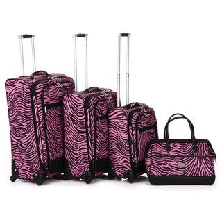 Nicole Miller Wild Zebra 4 piece Expandable Spinner Luggage Set