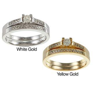 10k Gold 1/4ct TDW Round Diamond Bridal Ring Set (I J, I1 I2