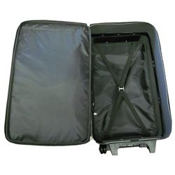Amerileather Black Leather 26 inch Suitcase with Wheels