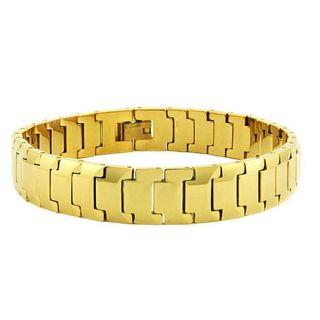 Mens Tungsten Carbide Gold plated Snake link Bracelet (12 mm