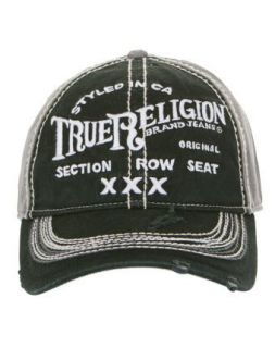True Religion Brand Jeans Triple X Hat Cap Black: Clothing