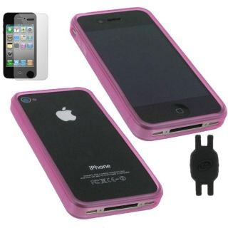 rooCASE iPhone 4 Magenta Bumper Design TPU Crystal Case 3 in 1 Bundle
